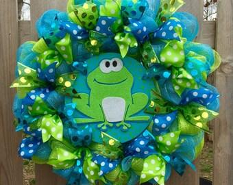 Frog wreath. spring wreath, spring frog wreath, spring front door wreath, frog front door wreath, frog decor, spring decor