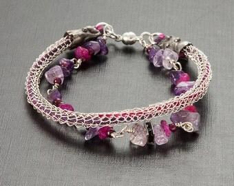 Viking knit bracelet with natural stones