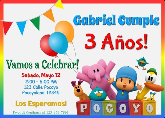 Pocoyo Birthday Invitation