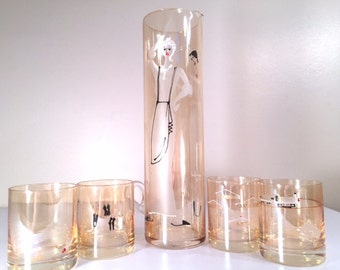 Vintage 1960's Housewife and Lady of Leisure 5-Piece Bar Set (4 Glasses and 1 Pitcher)