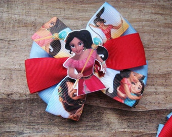 Girls ribbon bow Elena of Avalor hair bows Hair clip bow Christmas hair accessories Mother daughter gift Kids birthday party Elena clip