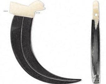 Bear Claw, Horn Carved Claw, Bone Bird on Top, Tribal Bead, Rustic, Earthy, 52x15mm, 1 each, D762