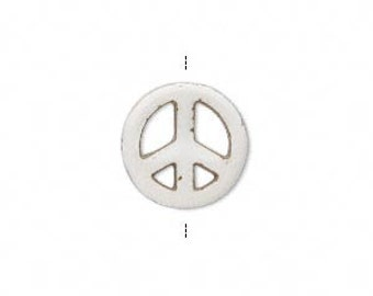White Peace Sign, Magnesite Bead, Hand Cut Peace Sign, 15mm, 4 each, D818