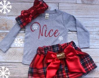 Baby Christmas Outfit, Nice Christmas Shirt, My first Christmas, Toddler Girls Christmas, Sparkle, Baby Girl Christmas Outfit