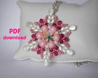 PDF pattern, PDF tutorial, superduo pendant, pattern bijoux
