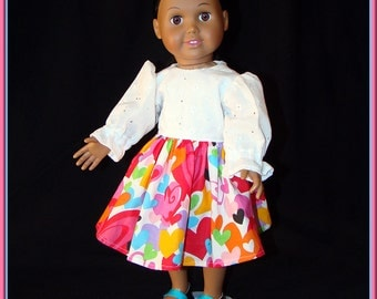 "Doll Dress; White Eyelet, Long Sleeve Top, Multi Colored Hearts on Skirt; for American Girl Style 18"" Dolls! School or Dress Up Doll Clothes"
