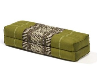 Thai Long Pillow Block (14x6x4 In) Kapok-filled,(Sage)