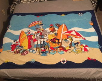 Bugs Bunny and Looney Tunes Characters Beach Towel - REDUCED! - Warner Bros. Vintage