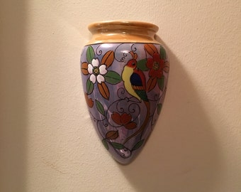 Colorful Vintage Lustreware Wall Pocket Vase