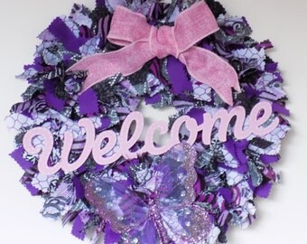 Purple and silver welcome rag wreath - Welcome sign - fabric wreath