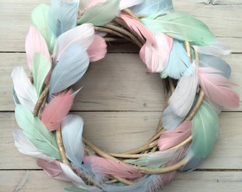 Whimsical pastel feather wreath