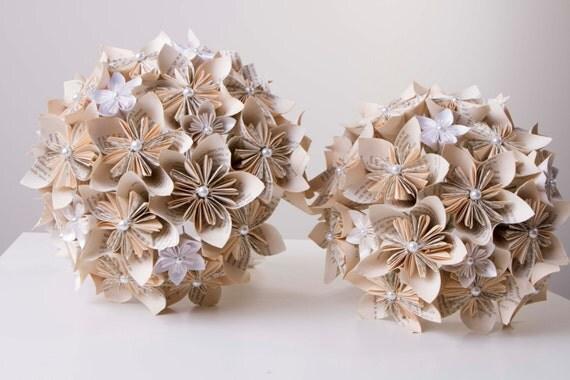 Paper flower bouquet, Kusudama flower bouquet, Harry potter bouquet, white and cream bouquet, Origami flower bouquet, bridal bouquet,