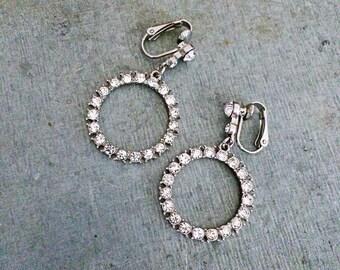 Crystal earrings, vintage clip on earrings, rhinestone earrings, vintage earrings, vintage crystal, bridal earrings, wedding earrings