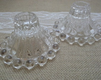 Anchor Hocking, Candle Holders, Vintage Pair, Berwick Glass, Boopie Glass, Clear Candle Holder, Boopie Candle, Berwick Candle