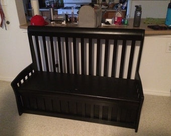 Entryway- Foyer Bedroom Bench made from crib -