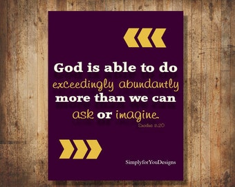 God is Able - Canvas Wall Art - Purple and Gold