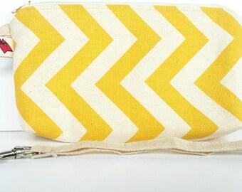 Yellow/White/cream chevron cosmetic/toiletry/travel pouch/bag/case/wristlet