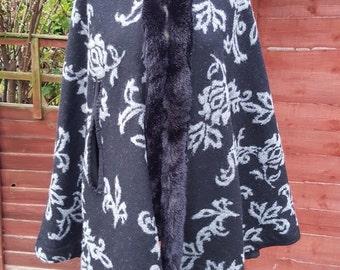Woollen Winter Cape fur trim black cape coat hooded cape size medium