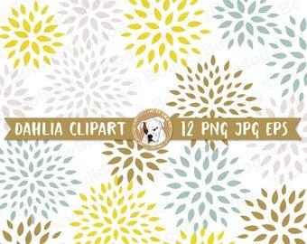 Vector dahlia clipart yellow floral clipart digital scrapbook digital dahlia digital flower dahlia clip art clipart mums flower
