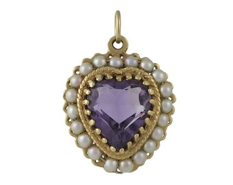 Vintage 14K Heart Shaped Pendant with Amethyst & Cultured Pearls