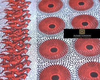 African Print Ankara Chiffon Fabric   Record & Horse Ankara Chiffon Fabric   African Print Chiffon   Black White Red Chiffon Fabric   PER YD