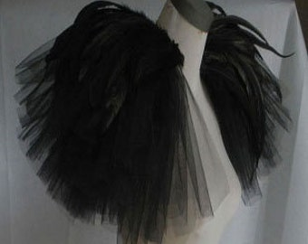 Hand gathered bridal tulle epaulette pads with feather # FSP16001