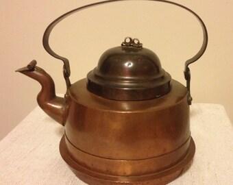 Antique Copper Tea Kettle from Sweden