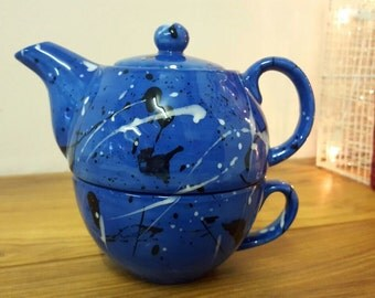 Hand Painted English Teapot Tea For One Hand Painted Ceramic Teapot - Tea Lover Personalised Gift Blue