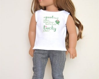 St. Patrick's quote top for 18 inch dolls American Handmade Girl Doll Clothes