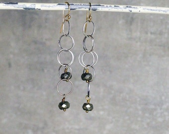 Sterling Pyrite Drop Earrings
