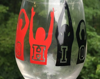 O-H-I-O custom wineglass