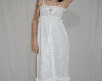 On Sale Vintage 70s 80s White Eyelet Smocked Hippie Boho Wedding Party Maxi Dress XS S