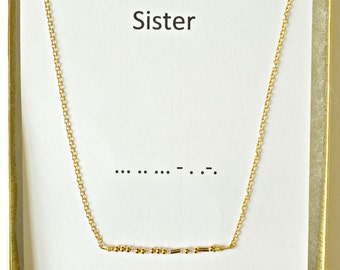 Morse Code Sister Necklace Gold Vermeil, Gold over Sterling Silver, Gold Morse Code Necklace, Sister Jewelry Gold, Secret Message Necklace