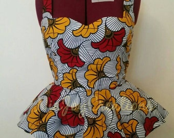African Clothing: Moe Fall African Print Peplum Top