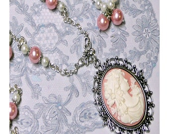 Pink and white Cameo long necklace and earrings set, clip on or pierced fittings