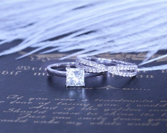 5.5mm Princess Moissanite Wedding Set Moissanite Ring w/ 14K White Gold Diamond Wedding Band Moissanite Engagement Ring Set - 2 Rings Set