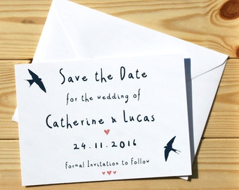 Save The Date Cards and Envelopes: Swallows & Hearts