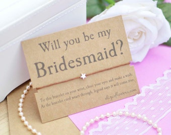 Bridesmaid Wish Bracelet, Will You Be My Bridesmaid, Bridesmaid Gift, Bridesmaid Proposal, Wish Bracelet, Cord Bracelet and Gift Card.