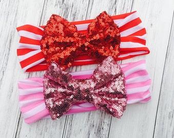 Stripe Sequin Headbands - Jersey Knit Sequin Headband - Baby Headbands - Toddler Headbands - Youth Headbands - Sequin Turban Headbands
