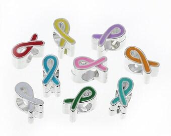 9 Enamel Awareness Ribbon Beads, European Jewelry Beads, Wholesale Beads, Big Hole Beads, 6625, 703, 701a