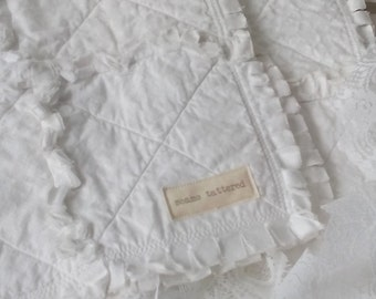 Sweet White on White Rag Fresh Modern Handmade Patchwork Quilt  All White Baby Quilt Ready to Ship