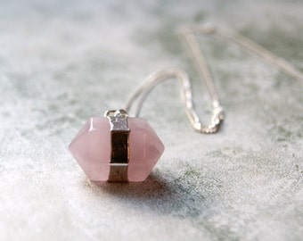 Sterling Silver Wrapped Rose Quartz Hexagon Long Pendant Necklace with Extra Fine Sterling Silver Chain