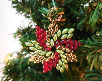 Christmas Beading Patterns - Beaded Christmas Ornament Patterns - DIY Christmas Ornament - DIY Christmas Gifts - Pinwheel Ornament