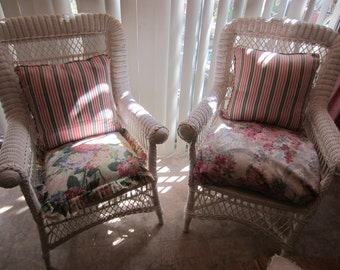 Pair ANTIQUE WICKER CHAIRS.  1900'S.  Restored.  Like New.