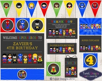 SUPERHERO PARTY PRINTABLE, Chalk board Superhero Printable, Superhero Party, Instant download Superhero Party, Edit with Free Adobe Reader