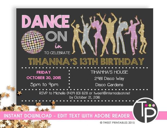 disco party invitation instant download dance invitations