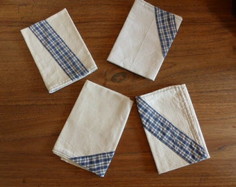 Set of 6 cloth napkins from antique linen: dark blue