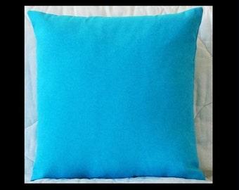 Aqua Solid Swavelle/Mill Creek Indoor/Outdoor Fresco Solid Pool Pillow Cover with Zipper Closure