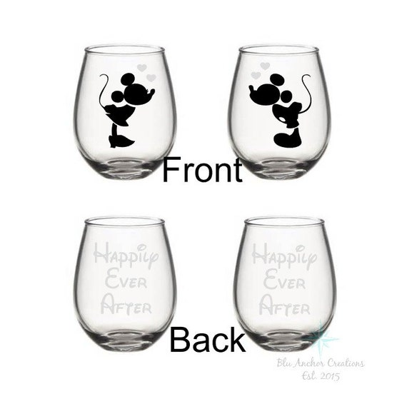Mickey And Minnie Wine Glass Set Happily Ever After Bridal