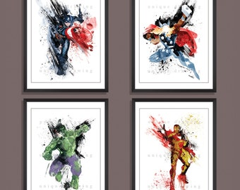 Avengers poster, Avengers print, Superhero poster, Set of 4 prints, Ironman, Iron man, Captain American, Thor, Hulk, Kids Decor print, 3526